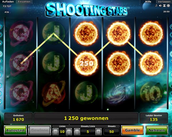 Novoline Shooting Stars Gewinn